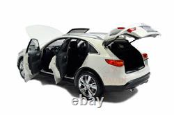 118 1/18 Infiniti QX70 SUV Diecast Miniature Model Car Gifts White Vehicle Toy