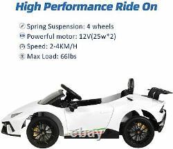 12V Kids Electric Ride On Car Lamborghini Huracán Motorized Vehicles withRC White