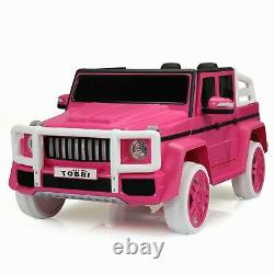 12V Kids Ride On Car SUV Cop Police Vehicle Toy With Remote Control Pink Tobbi