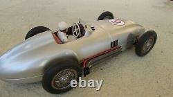 1950's JNF Mercedes Silver Arrow W196 Battery Op 13 in. Tin toy race car driver
