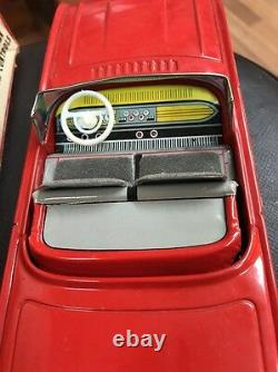 1960's Vintage Ford Thunderbird Red Tin Toy Car Cragstan Battery Operated