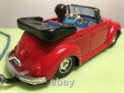 Bandai Vw Beetle Convertible Tin Lithographed Remote Control Car Made In Japan