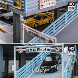 Diorama 1/64 Model Car Parking Lot 2 Levels Japan Style Vehicle Display Gifts