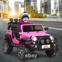 HoneyJoy 12V Kids Ride On Car 2 Seater Truck RC Electric Vehicle withStorage Pink