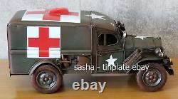 TINPLATE MODEL DOD USA ARMY TRUCK car ambulance auto medical handmade loft decor