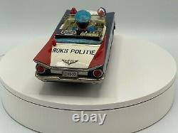 Very Rare Vintage Ichiko Japan Tin Friction Dutch Ruks Politie/ Police Car 11.5
