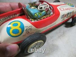 Vintage 1950's/60's ATC Asahi Tin Friction Champion 8 Mobilgas Race Car Toy
