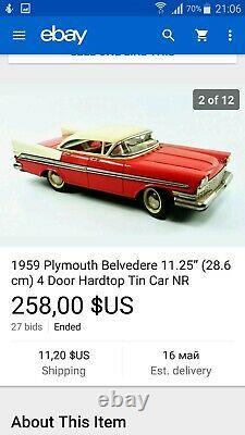 Vintage 1959 Plymouth Belvedere 4 Door Hard Top Tin Toy Car Foreign Lemez Hungar
