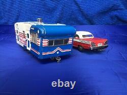 Vintage Friction Model Car And House Trailer Excellent