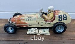 Vintage LARGE Yonezawa Sanyo Toys 98 Tin Friction Toy Champions Race Car Racer