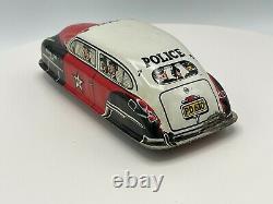 Vintage Lupor Tin Friction No. 7 Police Patrol Car Red/White/Black withBox