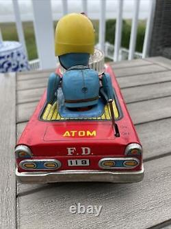 Vintage Nomura Japan Tin Litho ATOMIC FIRE CAR Battery Operated F. D. 119 Vehicle