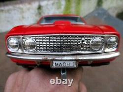 Vintage Toy Tin Car Japan Taiyo Ford Mustang Mach1 Fully Functional And Lights