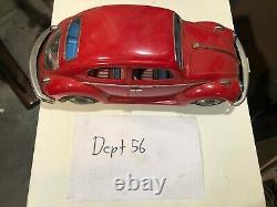 Vintage Volkswagen VW Beetle tin Bandai Japan bug toy car WORKS GREAT