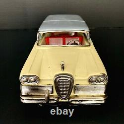 Vtg Ford Edsel Station Wagon 2 Door Tin Friction Toy Car 1950s Made in Japan